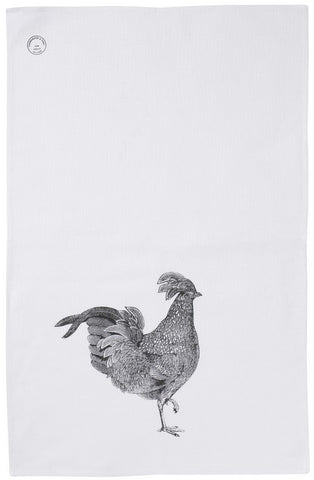 Linen Black Chicken Tea Towel