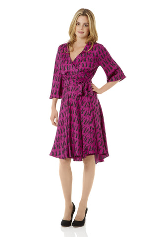 Pride and Prejudice Fuchsia Wrap Dress