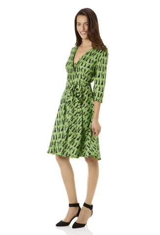 Pride and Prejudice Lime Wrap Dress