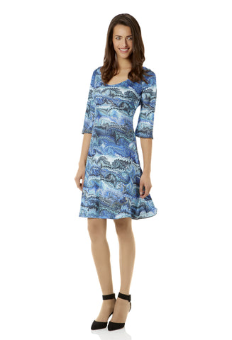 Valese Blue Marble Silk Shift Dress