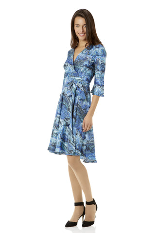 Valese Blue Marble Silk Wrap Dress