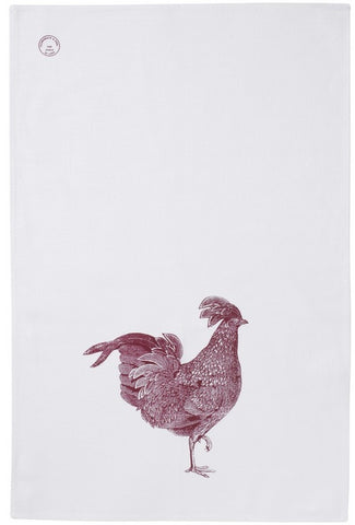Linen Red Chicken Tea Towel