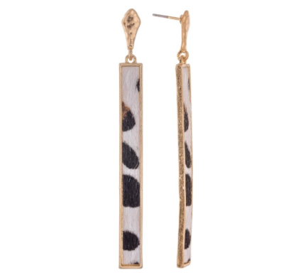 Carly Earrings - White Leopard