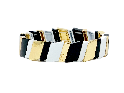 Nikki - Slanted Black/White/Gold