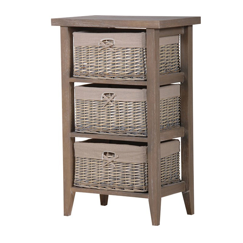 Salcombe Large 3 Grey Baskets Unit