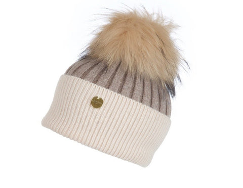 Popski London Hat - Two Tone - Cream/Fawn