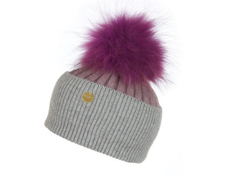 Popski London Hat - Two Tone - Grey/Pink