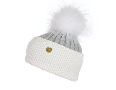 Popski London Hat - Two Tone - Grey/White