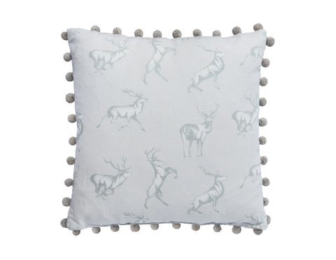 The Stag Cushion with pom poms  Cushions - Bow House Lifestyle