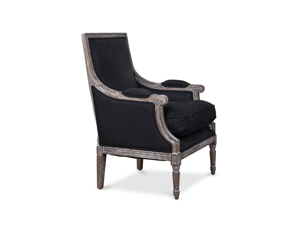 Lafayette Arm Chair -  Black Linen  Arm Chair - Bow House Lifestyle