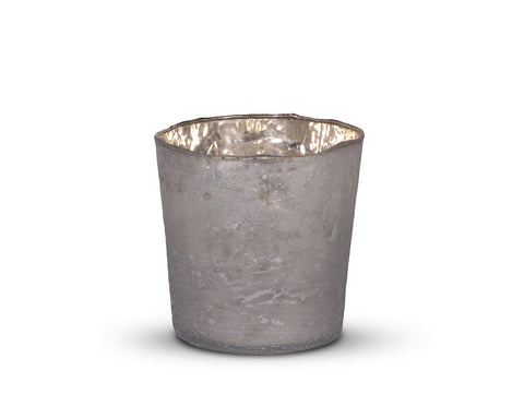 Medium Frosted Votive finished in Silver/White