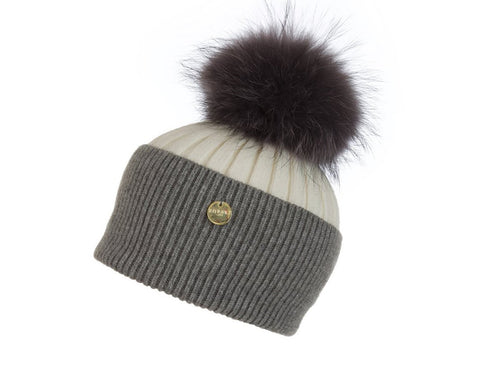Popski London Hat - Two Tone - Cream/Whisper Grey