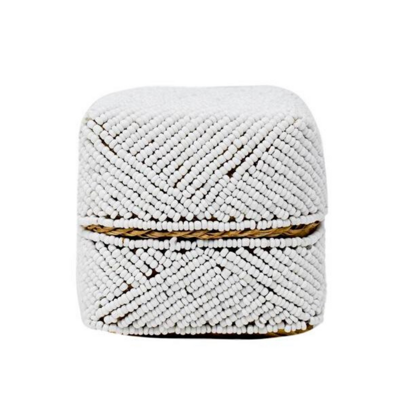 White Beaded Bali Box