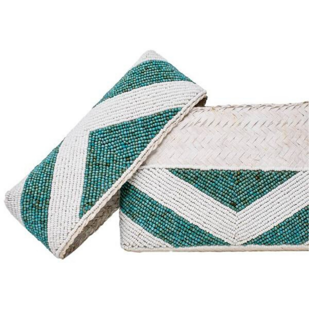 Turquoise Stripe Zoe Beaded Clutch