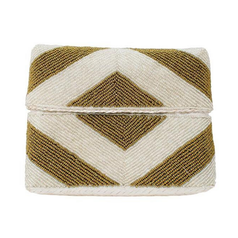 Gold & Silver Stripe Zoe Beaded Clutch