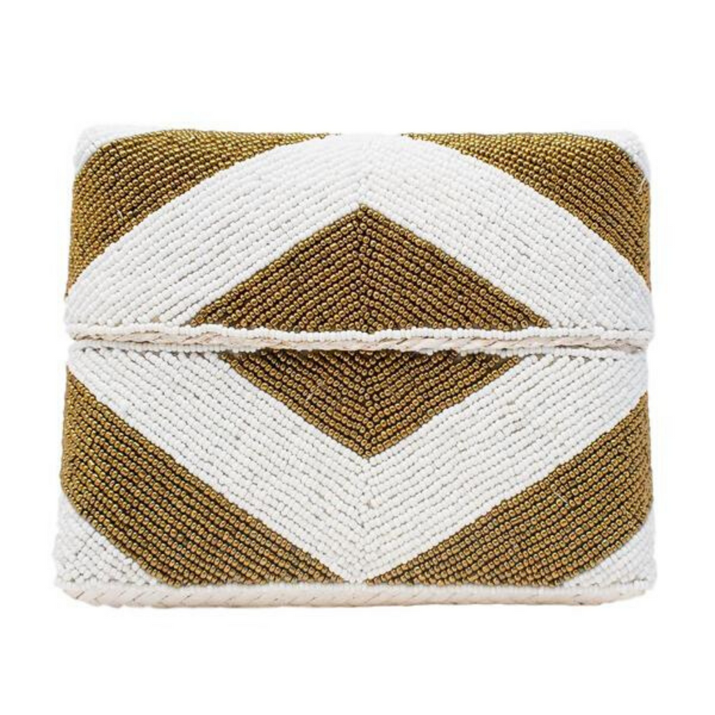 Gold Stripe Zoe Beaded Clutch