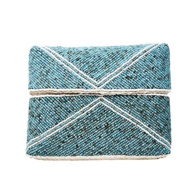White Stripe Zoe Beaded Clutch