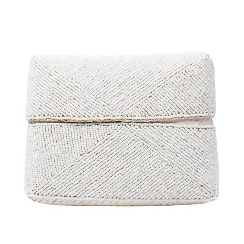 White Zoe Beaded Clutch