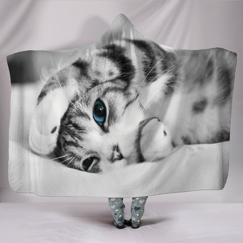 Image of Simply Cat Lovers Plush Lined Wearable Hooded Blanket