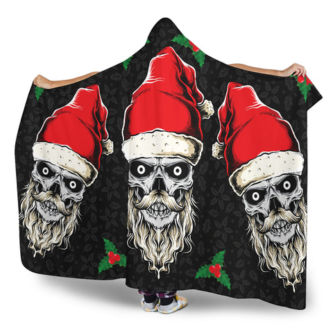 Image of Evil Christmas Skull Santa Hooded Blanket