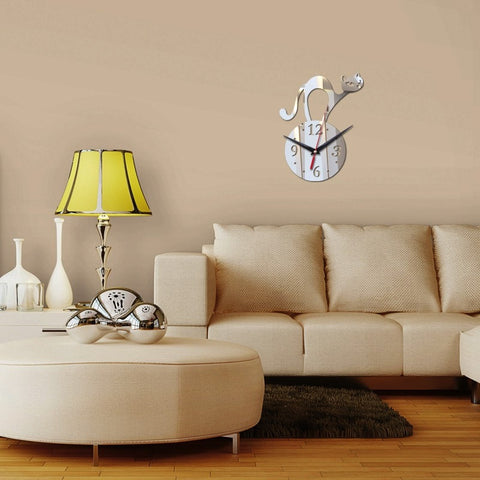 Image of Cat o' Clock 3D Acrylic Mirror DIY Wall Clock