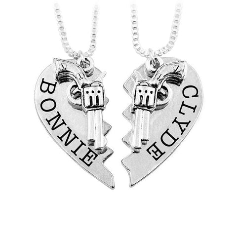 Image of 2 Pc Bonnie And Clyde Pendant necklaces