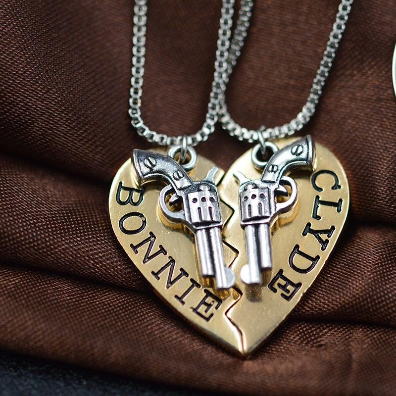 2 Pc Bonnie And Clyde Pendant necklaces