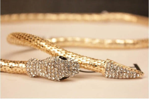 Full Rhinestone Austria Gold/Silver Crystal Snake Long Pendant Necklace