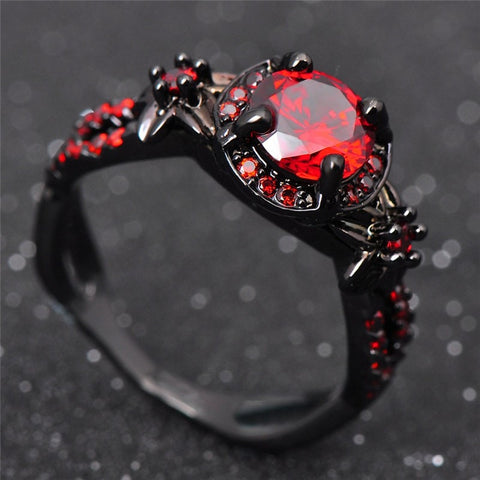 Red Garnet Women Black Gold Filled Rings