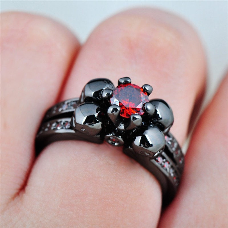 Skull Ring for Women/Men Red Black Gold Filled