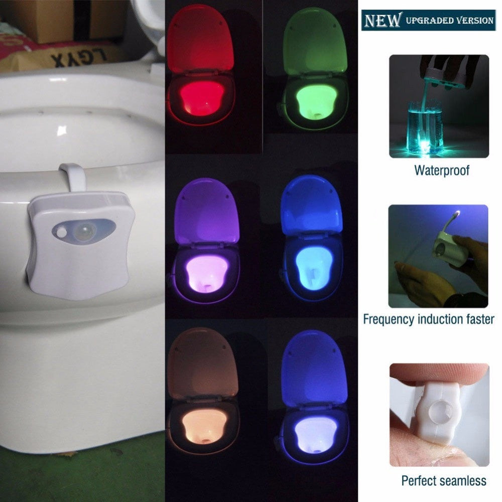 8 Color Bathroom Toilet Nightlight LED Body Motion Activated Seat Sensor
