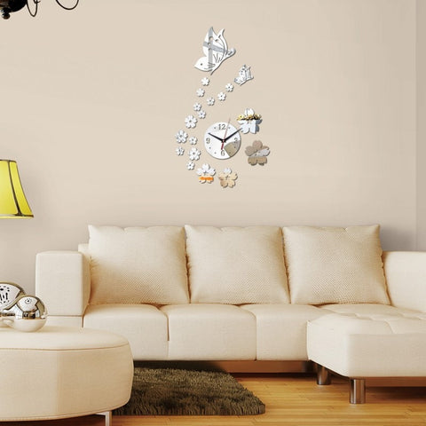 Spring 3D Acrylic Mirror DIY Wall Clock