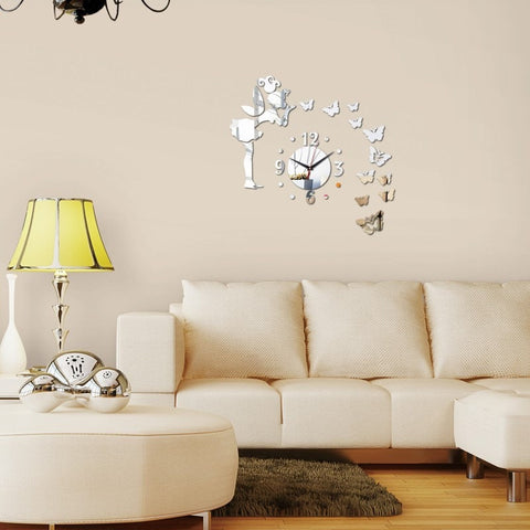 Blow A Kiss 3D Acrylic Mirror DIY Wall Clock