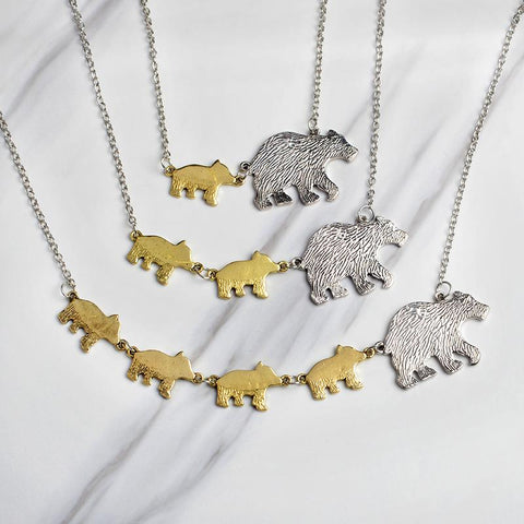 Image of Mama Bear and Cubs Pendant Necklace