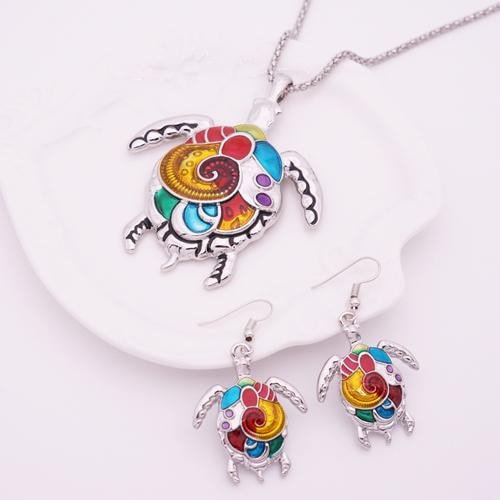 Colorful Vintage Turtle Jewelry Set