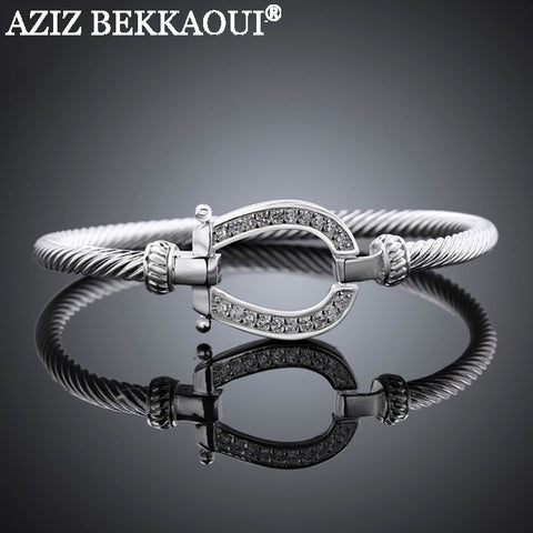 Horseshoe 18K White Gold Plated Bangle