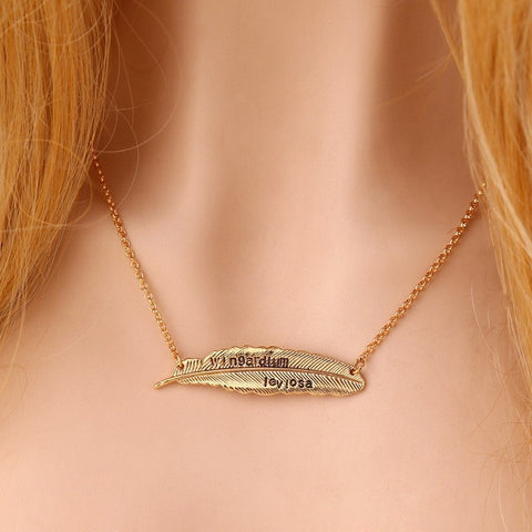 Image of Levitating Spell Wingardium Leviosa  Feather Pendant Necklace