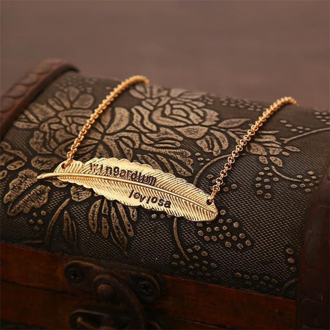 Levitating Spell Wingardium Leviosa  Feather Pendant Necklace