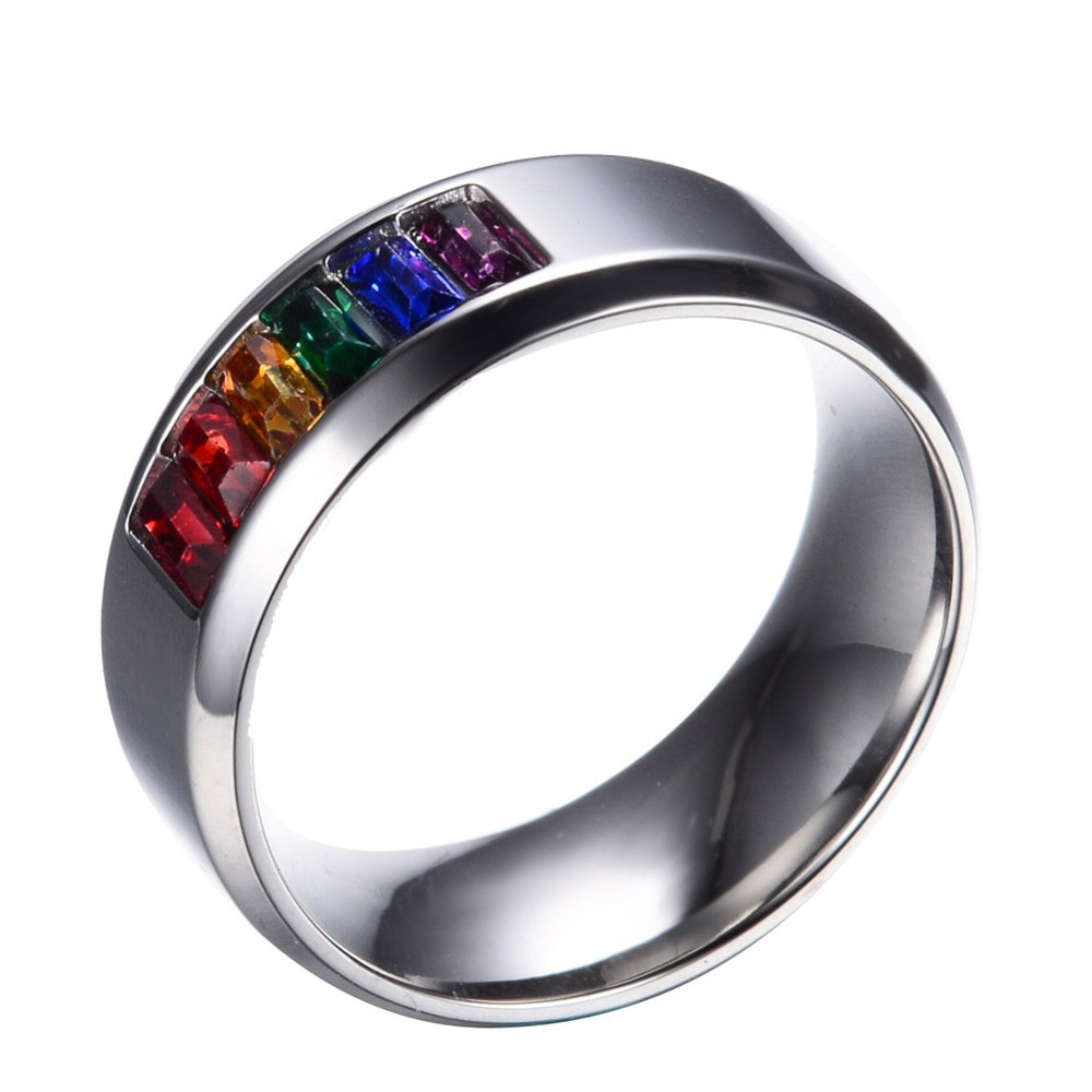 Rainbow Silver Titanium Steel Rings For Men