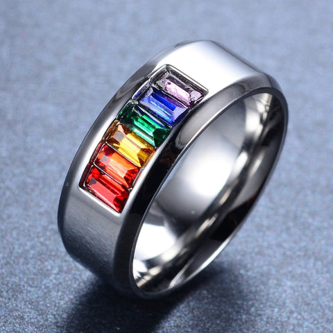 Image of Rainbow Silver Titanium Steel Rings For Men