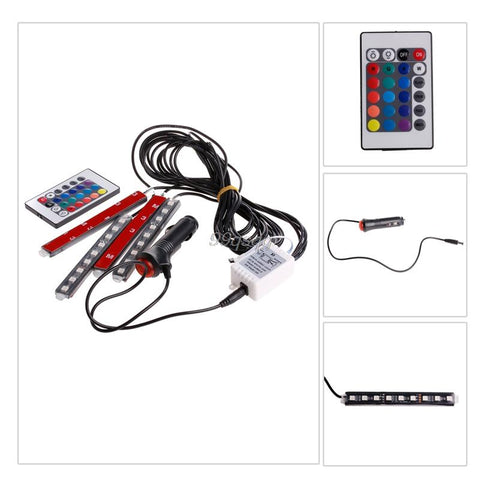 Image of 7 Color Flexible Car Styling RGB LED Strip Light  with Remote