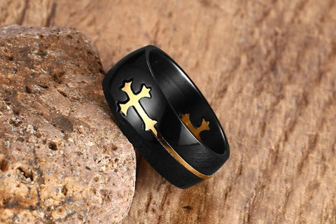 Image of Separable Cross Ring for Men Woman Black Color Stainless Steel