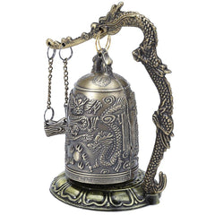 Zinc Alloy Vintage Style Bronze Dragon Carved Buddhist Bell
