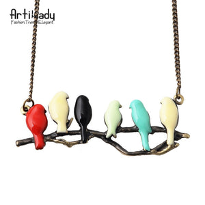 Artilady Lovely Bird On Branch Necklace
