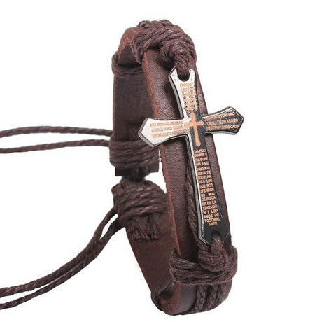 Image of Vintage Leather & Metal Cross Jesus Bracelet