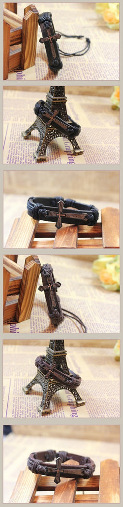 Vintage Leather & Metal Cross Jesus Bracelet