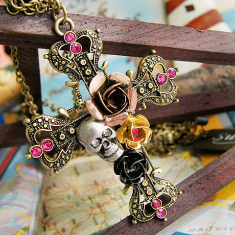 High Quality Antique Bronze Gold Plated Cross & Skull Pendant