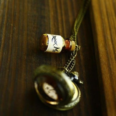 Alice Drink Me Bottle And Pocket Watch Long Necklace - Need This Now