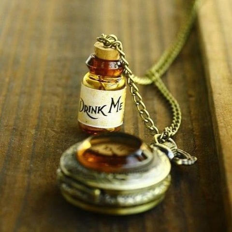 Alice Drink Me Bottle And Pocket Watch Long Necklace