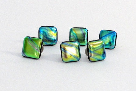 Iridescent hues of greens,  blues, purples yellows  - Dichroic Knobs - 312